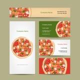 Sistema del diseño de las tarjetas de visita con la pizza Imagen de archivo libre de regalías