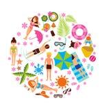 Sistema del diseño de las vacaciones de verano Fotos de archivo libres de regalías