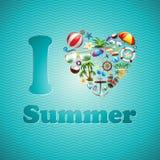 Sistema del diseño de las vacaciones de verano del corazón del amor del vector en fondo azul de la onda. Foto de archivo libre de regalías