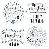 Sistema del diseño de letras de la Feliz Navidad Ilustración del vector Foto de archivo