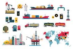 Sistema del diseño del aceite del concepto de los iconos ilustración del vector