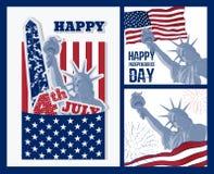 Sistema del diseño del arte de estatua de la libertad con la bandera americana Diseño para cuarto la celebración los E.E.U.U. de  Imagen de archivo