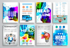 Sistema del diseño del aviador, diseños del folleto de Infographics stock de ilustración