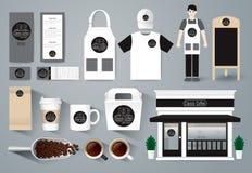 Sistema del diseño del café del restaurante del vector, diseño de la tienda Imagenes de archivo