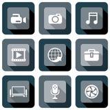 Sistema del diseño del icono de las multimedias Imagenes de archivo