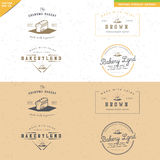 Sistema del diseño del logotipo de la panadería del vintage Foto de archivo