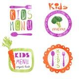 Sistema del diseño del logotipo del menú de los niños de la acuarela Fotos de archivo