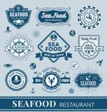 Sistema del diseño del logotipo del restaurante de los mariscos Foto de archivo libre de regalías