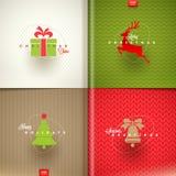 Sistema del diseño del saludo de la Navidad Fotos de archivo libres de regalías