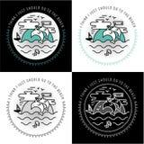 Sistema del diseño del tatuaje y de la etiqueta Viaje, día de fiesta, paraíso, puesta del sol Imagen de archivo libre de regalías
