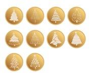 Sistema del diseño del vector de los botones del web del oro para los árboles de navidad Imágenes de archivo libres de regalías