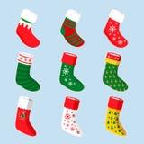 Sistema del diseño del ejemplo de los calcetines de la Navidad Imágenes de archivo libres de regalías