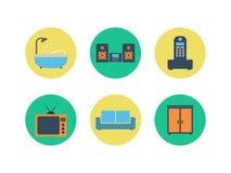 Sistema del diseño interior del vector colorido Iconos planos del color libre illustration