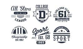 Sistema del diseño del logotipo del club de la universidad del deporte, campeonato superior del vintage, emblema del club de depo stock de ilustración