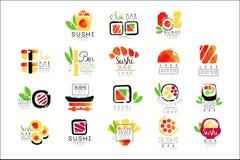 Sistema del diseño del logotipo de la barra de sushi de ejemplos coloridos del vector de la acuarela ilustración del vector