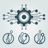 Sistema del diseño del logotipo de la tecnología Saludos a través del mundo Fotografía de archivo