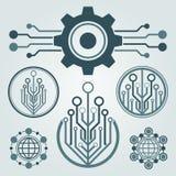 Sistema del diseño del logotipo de la tecnología Saludos a través del mundo Fotos de archivo libres de regalías
