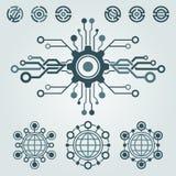 Sistema del diseño del logotipo de la tecnología Saludos a través del mundo Foto de archivo libre de regalías