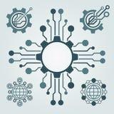 Sistema del diseño del logotipo de la tecnología Saludos a través del mundo Fotos de archivo