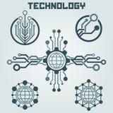 Sistema del diseño del logotipo de la tecnología Saludos a través del mundo Imágenes de archivo libres de regalías