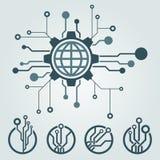 Sistema del diseño del logotipo de la tecnología Saludos a través del mundo Imagenes de archivo