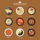 Sistema del diseño plano de la comida coreana Vagos del ejemplo de la comida de la calle de Asia Fotografía de archivo