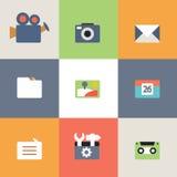 Sistema del diseño plano de los medios iconos stock de ilustración