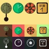 Sistema del diseño plano del reloj de pared Fotos de archivo libres de regalías