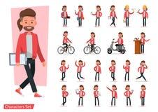 Sistema del diseño del vector del carácter de los hombres Presentación en la diversa acción con emociones, funcionamiento, situac ilustración del vector