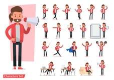 Sistema del diseño del vector del carácter de los hombres Presentación en la diversa acción con emociones, funcionamiento, situac libre illustration