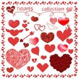 Sistema del diseño del vector de los artículos de los corazones para todo ilustración del vector