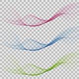 Sistema del dise?o ondulado verde rosado azul transparente eps10 del color del humo abstracto de la onda stock de ilustración