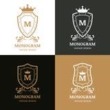 Sistema del diseño del logotipo del vector Símbolo de la corona, del escudo y del flourish Imagen de archivo