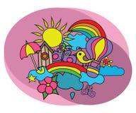 Sistema del diseño del tiempo del verano Plantilla de la página del libro de colorear Fotos de archivo libres de regalías