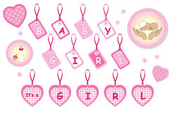Elementos recién nacidos del diseño de la niña Imagen de archivo