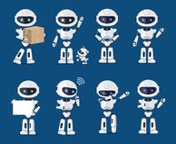 Sistema del diverso ejemplo del vector de la actividad de los robots stock de ilustración
