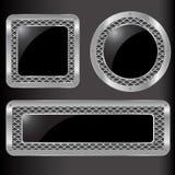 Sistema del botón abstracto del metal ilustración del vector
