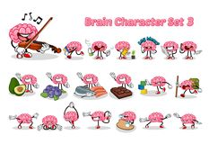 Sistema del ejemplo de Brain Cartoon Character Three Vector Fotografía de archivo