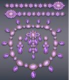 Sistema del ejemplo de joyería hecho de bro del oro y de las piedras preciosas imagen de archivo libre de regalías