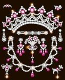 Sistema del ejemplo de joyería hecho de las piedras preciosas de plata y b foto de archivo libre de regalías