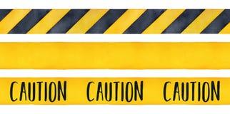 Sistema del ejemplo de la acuarela de cintas de la precaución stock de ilustración
