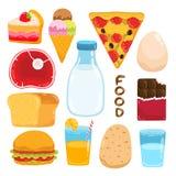 Sistema del ejemplo de la comida de la historieta del vector Imagenes de archivo