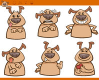 Sistema del ejemplo de la historieta de las emociones del perro stock de ilustración