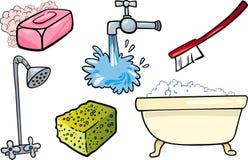 Sistema del ejemplo de la historieta de los objetos de la higiene Foto de archivo libre de regalías