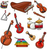 Sistema del ejemplo de la historieta de los instrumentos musicales libre illustration