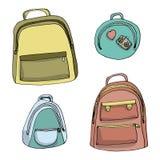 Sistema del ejemplo de la moda del vector de mochilas de la historieta en colores azules, rosados y amarillos aisladas en el fond stock de ilustración