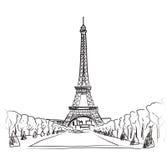 Sistema del ejemplo de la torre Eiffel de París. Colección del vintage del marco de París del amor. Café francés ilustración del vector
