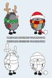 Sistema del ejemplo de libro de colorear de 2 erizos de la Navidad Foto de archivo