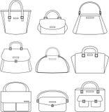 Sistema del ejemplo de los bolsos en el fondo blanco Fotos de archivo libres de regalías