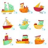 Sistema del ejemplo de Toy Ships With Faces Colorful Foto de archivo